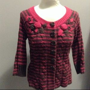 moth ANTHROPOLOGIE brown and pink cardigan S M